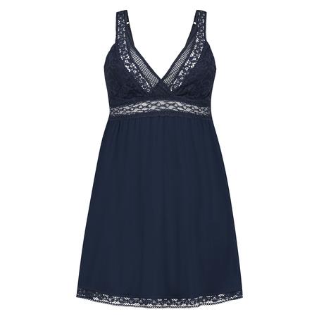 Graphic Lace natkjole, blå