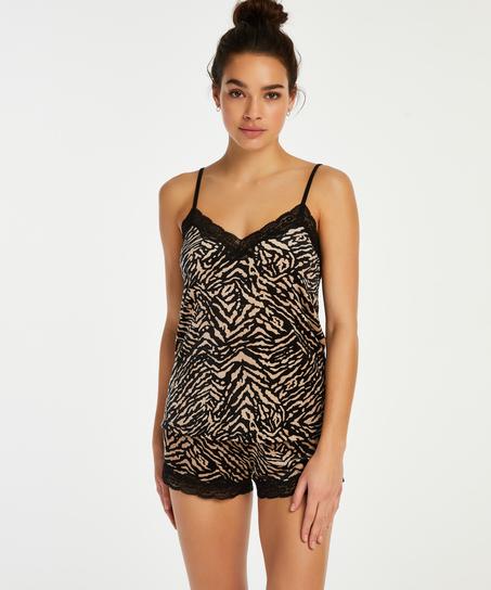 Zebra shorts i fløjl, sort