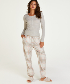 Pyjamastop med lange ærmer, Beige