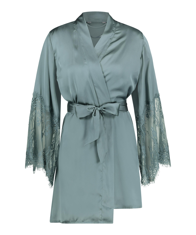 Satin kimono, grøn, main