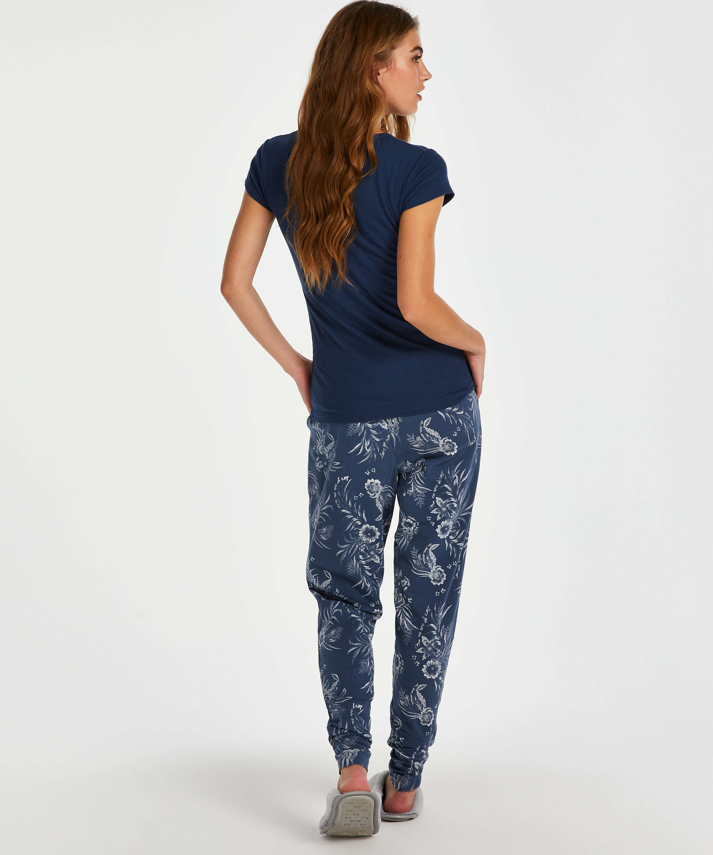 Pyjamastop korte ærmer rib, blå, main