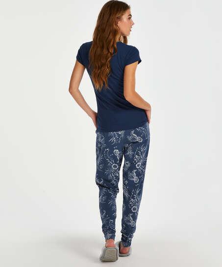 Pyjamastop korte ærmer rib, blå