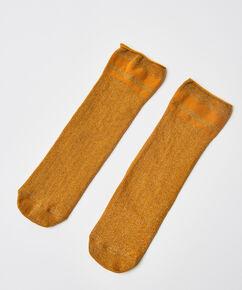 Lurex Rib strømper, gul
