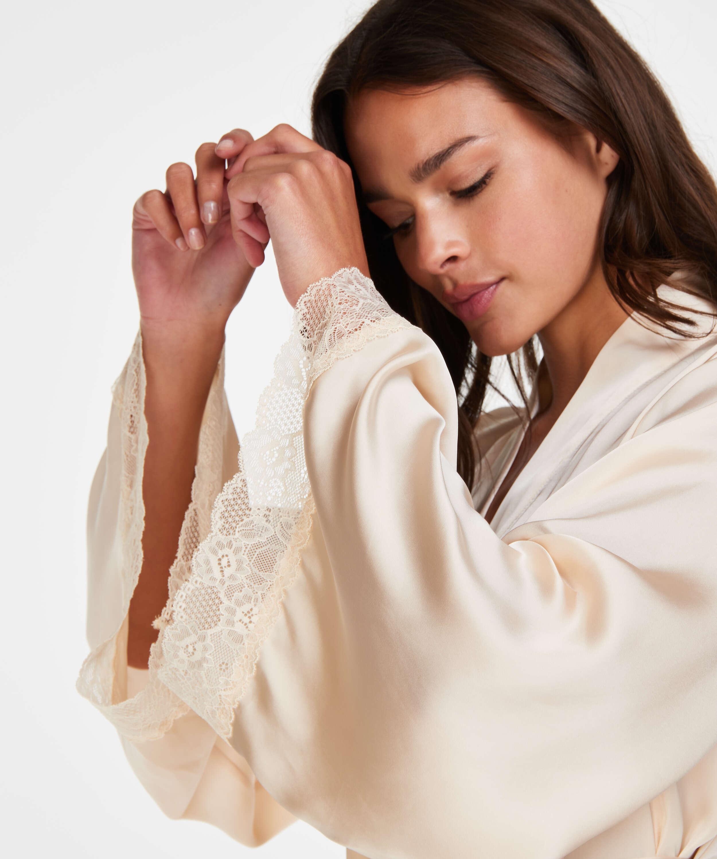 Kimono satin Meili, Beige, main