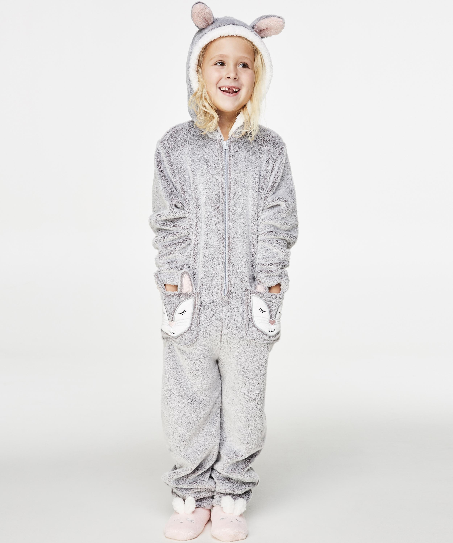 Kids Fleece Jumpsuit, Grå, main