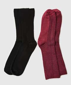 2 par sokker Rib Soft Touch, rød