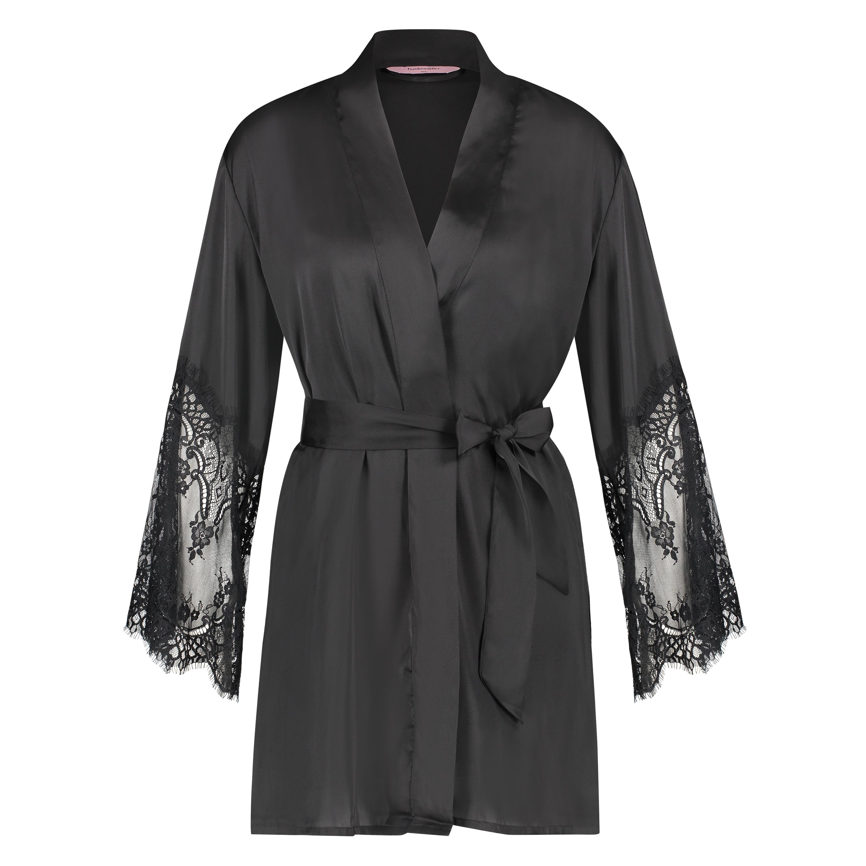 Lace Satin kimono, sort, main