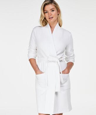 Jacquard jersey badekåbe, hvid