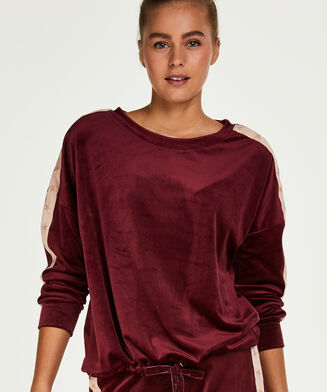 Velours Star top, rød
