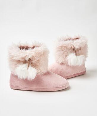 Textured Fur hjemmesko, pink