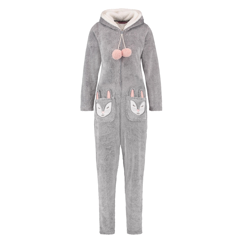 Fleece Novelty onesie-jumpsuit, Grå, main