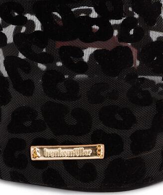 Leopard stor makeuptaske i meshstof, sort