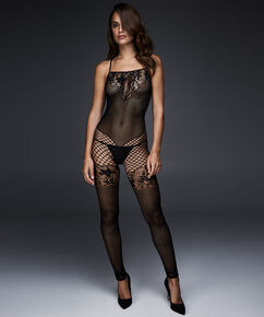 Fishnet Lace Mix catsuit, sort