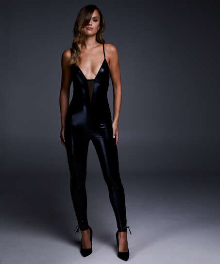 Mesh catsuit med blonder, sort