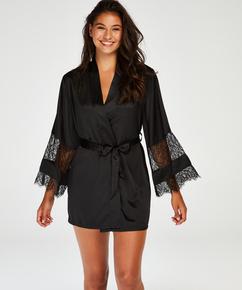 Kimono satin lace, sort