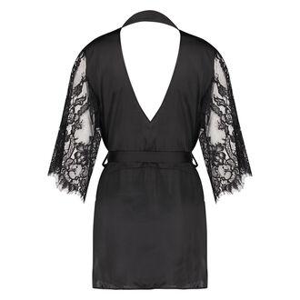 Flared Satin Lace kimono, sort