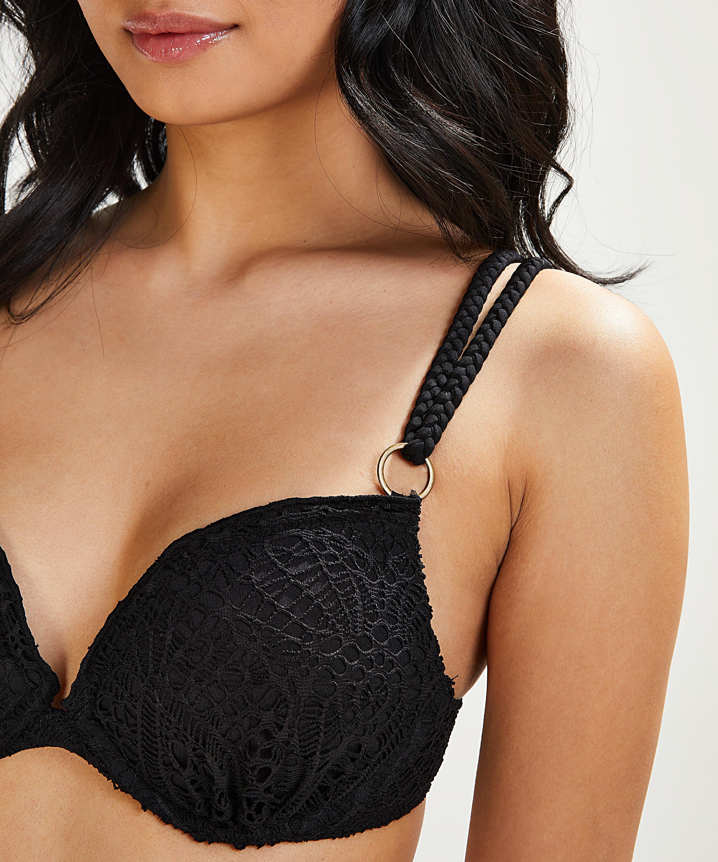 Formstøbt push-up-bikinitop med bøjle Crochet Størrelse A - E, sort, main