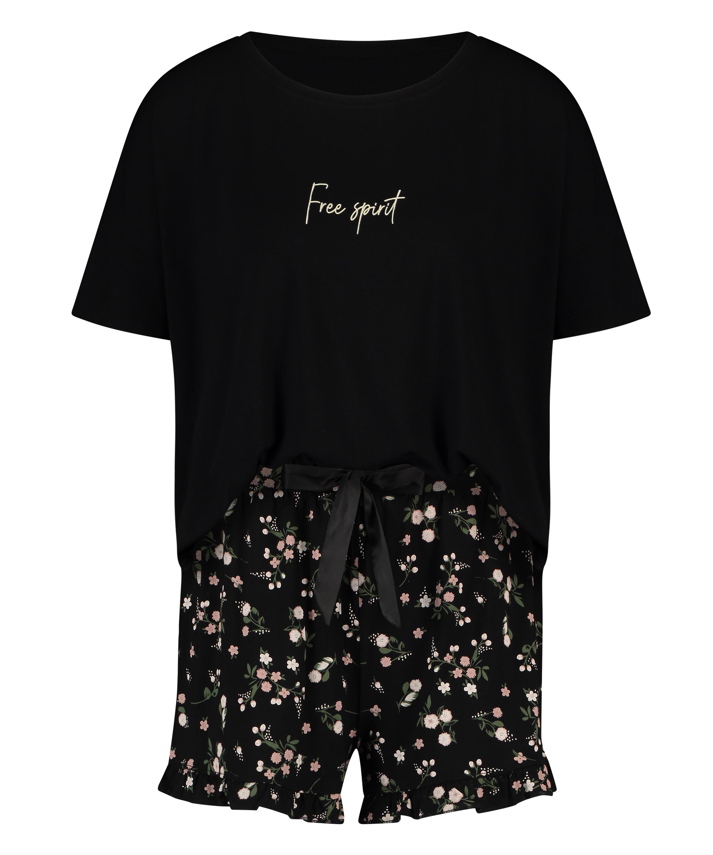 Ditzy Flower pyjamassæt med shorts, sort, main