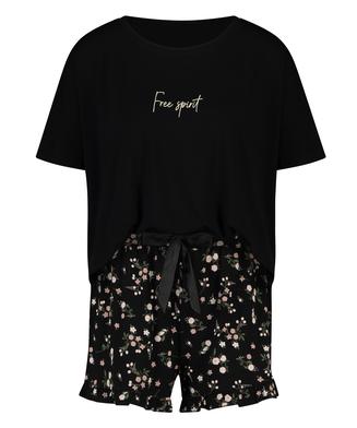 Ditzy Flower pyjamassæt med shorts, sort