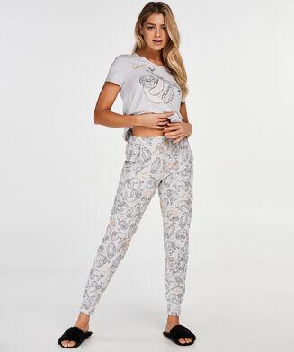 Kortærmet pyjamastop, Grå