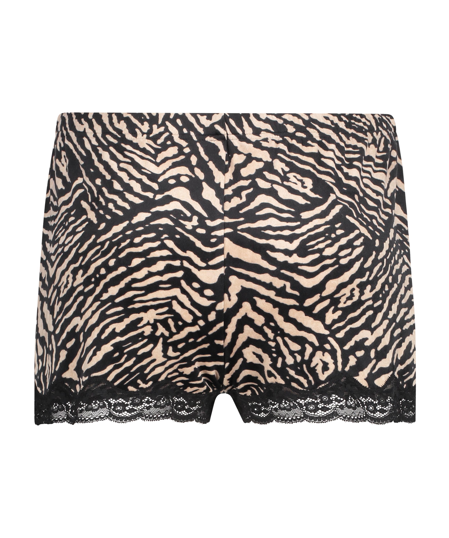 Zebra shorts i fløjl, sort, main