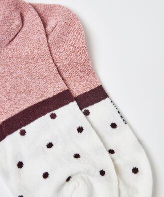 Lurex strømper med prikker, 2 par, pink