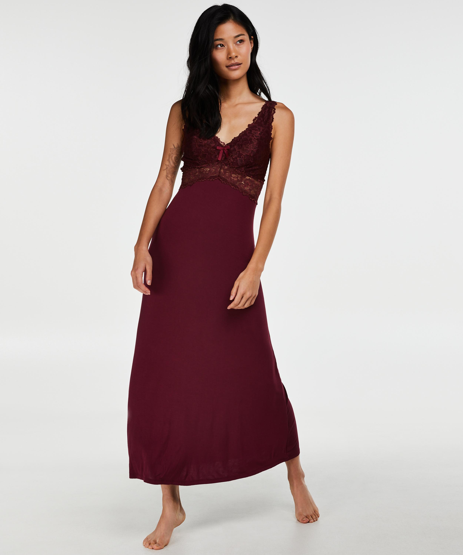 Modal Lace lang natkjole, rød, main