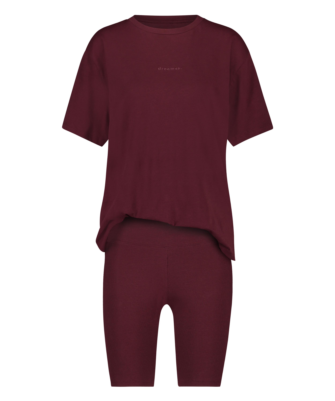 Kort pyjamassæt Biker, rød, main