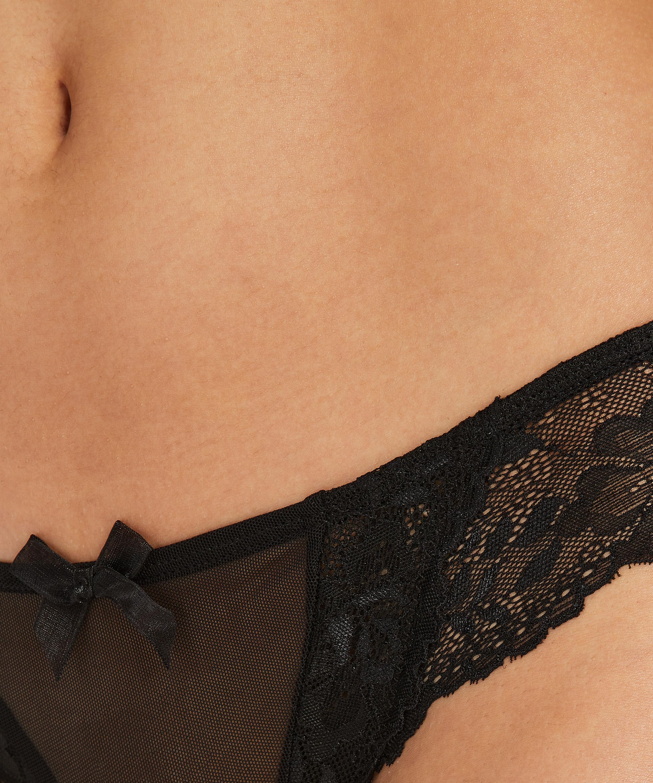 Crystal Lace brasiliansk trusse, sort, main