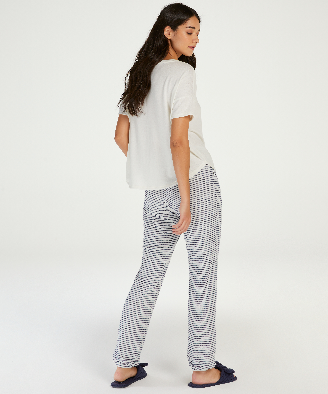 Pyjamasbukser Brushed Stripe, blå, main