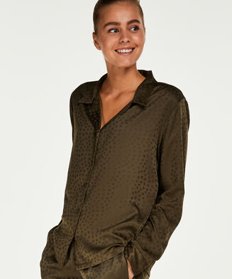 Satin Jacquard pyjamasoverdel, grøn