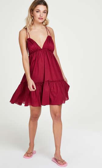Strandkjole Tiered, rød