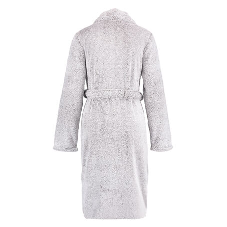 Fleece Glazed lang badekåbe, Grå