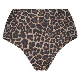 Fræk Leopard bikiniunderdel med høje ben, Beige