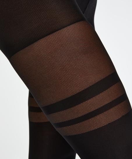 Fishnet Overknee strømpebukser, sort