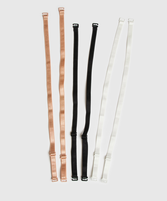 Pakke med 3 basis-bh-stropper, sort, main