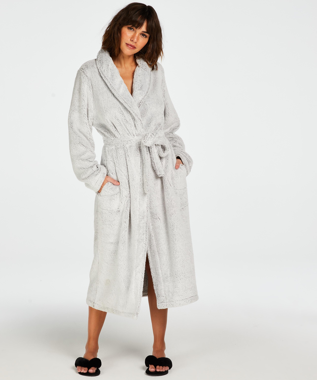 Fleece lang badekåbe, Grå, main