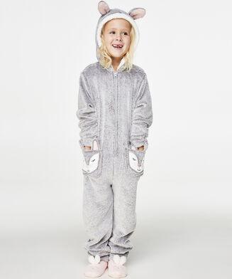 Kids Fleece Jumpsuit, Grå