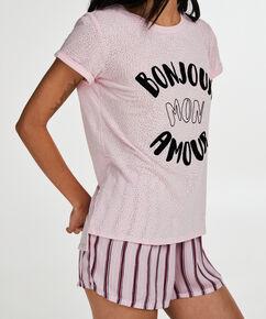 Loose Fit pyjamastop med korte ærmer, pink