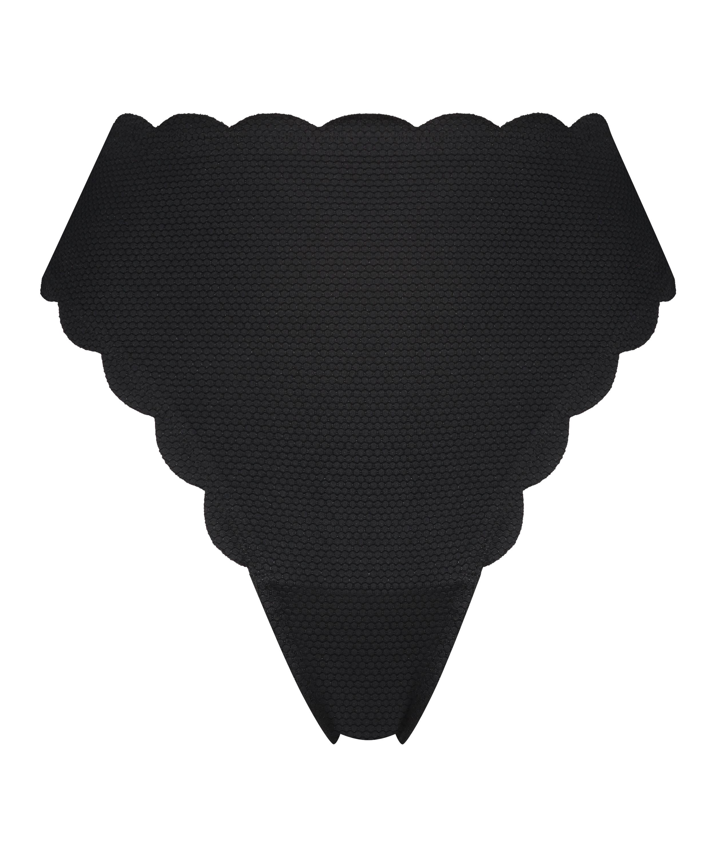 Høj highleg bikinitrusse Scallop Glam, sort, main