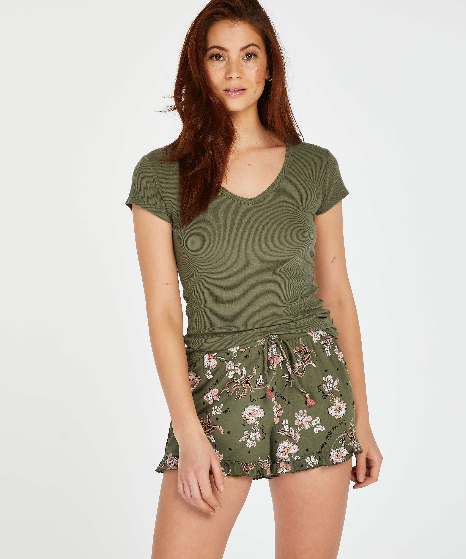 Pyjamastop korte ærmer rib, grøn, main