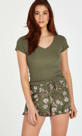 Pyjamastop korte ærmer rib, grøn