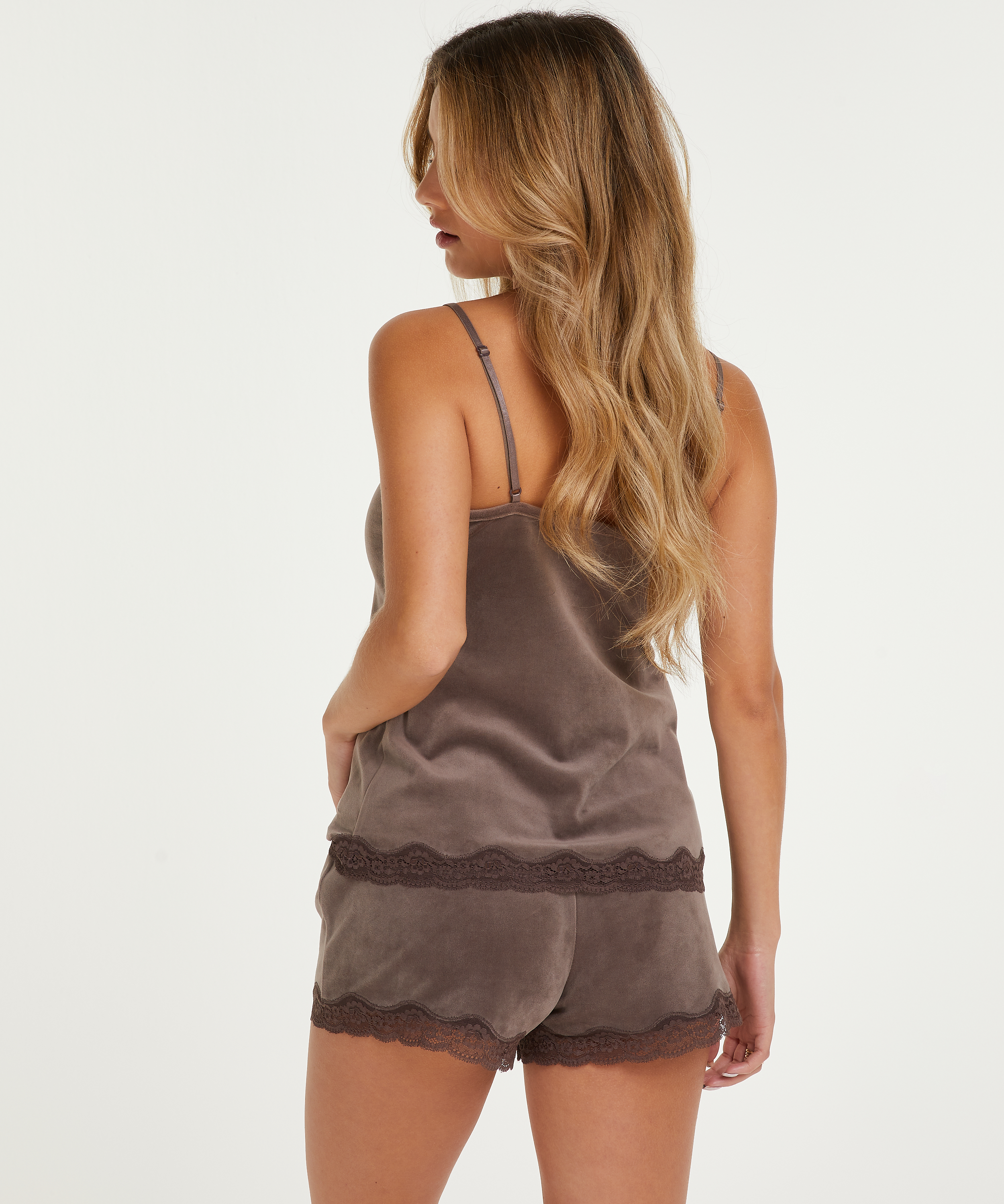 Shorts velour Lace, Brown, main