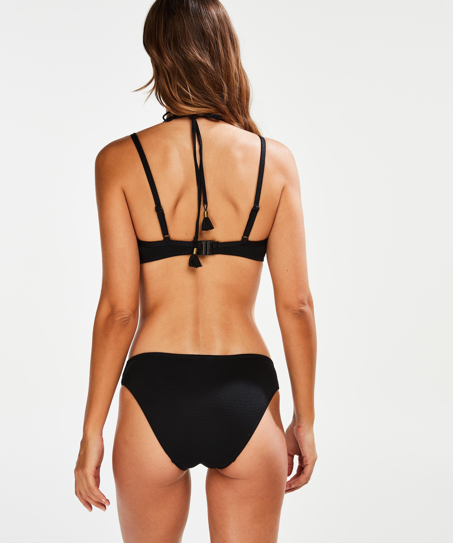 Scallop Glam formstøbt bøjle-bikinitop, sort, main