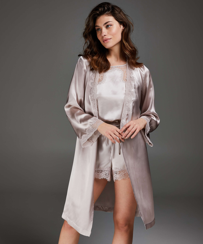 Kimono med silkeblonder, pink, main