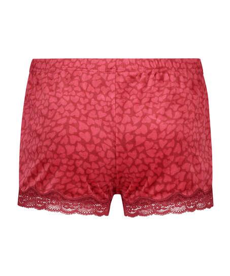Shorts velour Lace, rød