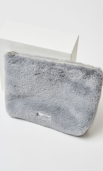 Makeup-taske Fake fur, Grå