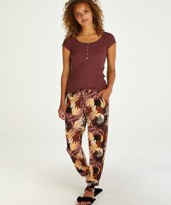 Høje pyjamasbukser Jersey Abstract Leaf, pink
