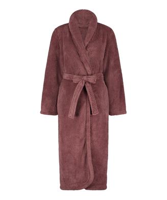 Fleece lang badekåbe, pink
