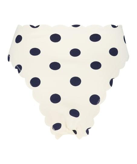 Scallop bikiniunderdel med høje ben, hvid